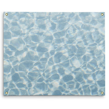Blue Crystal Waters - Wall Tapestry, Ocean Nautical Style Accent, Beach Surf Coastal Backdrop Decor Hanging Tapestry. In Small Medium Large