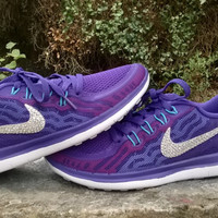 custom nike free 5.0+2  run sneakers athletic sport shoes womens purple color blinged with crystal swarovski