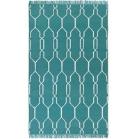 Lattice Teal Indoor Outdoor Dhurrie Rug