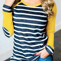 Striped Elbow Patch Baseball T-Shirt - Bellelily