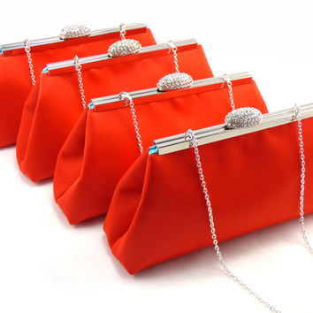 Set of Four Bright Red and Aqua Blue Bridesmaid Gift Clutches 5% Off