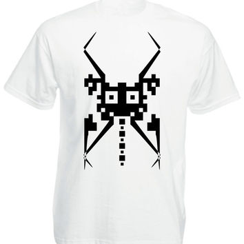 White Tshirt - Mosquito Style - Mens / Unisex -  Available Size S M L XL - Black and White
