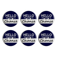 Chance Hello My Name Is Plastic Resin Button Set of 6
