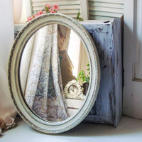 Antique Cream Vintage Oval Mirror, Large Oval Shabby Chic Mirror with Faux Patina, Cream Mirror, Bathroom Mirror, Cottage Chic Mirror