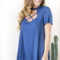 Leaving Cali Cut Out Blue Top