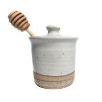STONEWARE HONEY POT