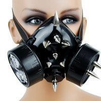 Cyber Steam Punk Gas Mask Cosplay Dual Respirator