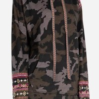 Johnny Was Valmere Pull On Hoodie~ Moonlight Camo