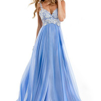 Strappy V-neck Lace Embroidered High Waist A-Line Pleated Maxi Dress