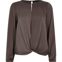 River Island Womens Grey long sleeve knot front slit back top