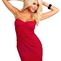 Low Cut Slip-On Heart Shaped Neckline Strapless Fitted Sweetheart Textured Mini Dress