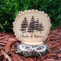 Wedding Cake Topper, Rustic Wedding Cake Topper, Wood Slice,Cake Top, Custom Cake Topper, Engraved Cake Topper, Nature, Minimalist, Trees