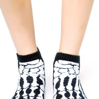 Black & White Skeleton Bones X-Ray Ankle Socks