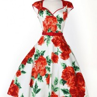 Heidi Dress in Red Rose Print