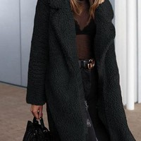 Black Lapel Long Sleeve Chic Women Faux Fur Fluffy Coat