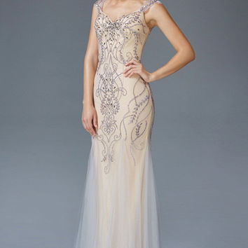 G2090 Beaded Tulle Mermaid Prom Dress Evening Gown with Straps