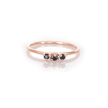 Rose Gold Black Garnet Duchess Ring