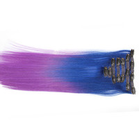 """Blue/Purple (2-Toned):  21"""" Clip In 100% Human Hair Extensions"""