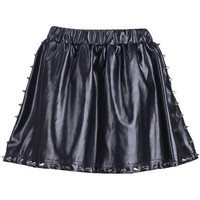 Rivets Detailed Leather-look Skirt [NCSTD0162] - $39.90 :