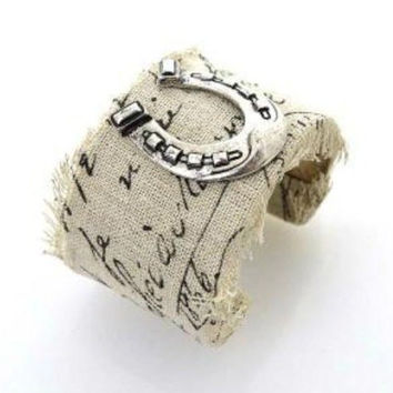 Burlap Silver Horseshoe Bracelet Boho Wide Cuff Western Cowgirl Horse Lovers Jewelry Beige Fabric With Print Fringed Edges Equestrian