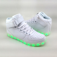 Adult White High Top LED Shoes