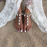 Vintage Bohemian Style Multilayer Cowrie Shell Anklets  Women Barefoot Beach Sandals