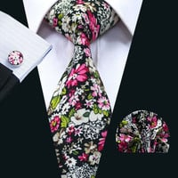 New Arrival Fashion Colorful Cotton Ties For Men High Quality Necktie Handky Cufflinks Set For Wedding Party
