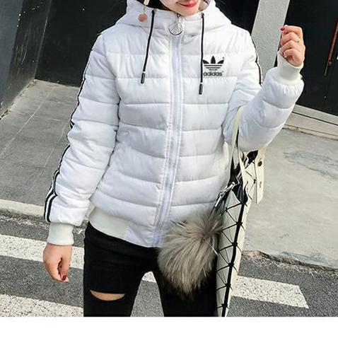 """Image of """"Adidas"""" Women Simple Fashion Stripe Zip Cardigan Hooded Long Sleeve Middle Long Section Cotton-padded Clothes Coat"""
