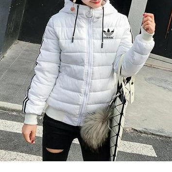 """""""Adidas"""" Women Simple Fashion Stripe Zip Cardigan Hooded Long Sleeve Middle Long Section Cotton-padded Clothes Coat"""