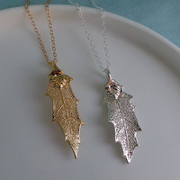 Silver or Gold Holly Leaf Necklace