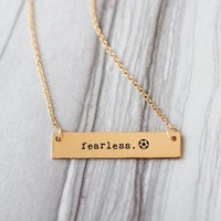 Fearless Soccer Gold / Silver Bar Necklace