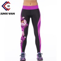 Women Cheshire Cat 3D Printed Workout Fitness Slim Yoga Pants Carry Buttock High Waist Tights Gym Running Sport Leggings WA0074