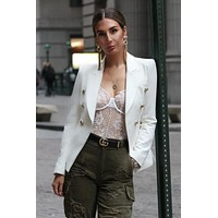 Double Breasted Gold Button Blazer - White
