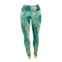 "Rosie Brown ""Waterfall"" Teal Blue Yoga Leggings"