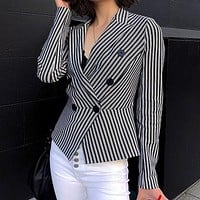 Women Fashion Stripe Short Blazer Female Long Sleeve Outwear Mujer Slim Double Button Blazer Jacket