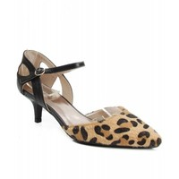 Qupid Prance-03 Vegan Ankle Strap Pointy Toe Kitten Pump CAMEL LEOPARD