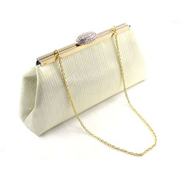Cream Crinkle and Navy Blue Evening Clutch