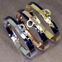 Ferragamo Stylish Women Men Personality Stainless Steel Bracelet