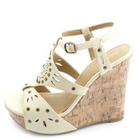 Studded Laser-Cut Platform Wedge Sandals by Charlotte Russe - Stone