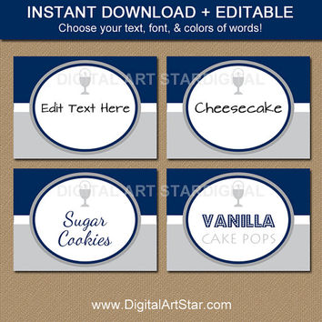 First Communion Food Labels - EDITABLE First Communion Tent Cards - Navy and Gray First Communion Party Decorations - Party Printables