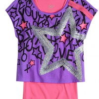 Icon Crop Over Long Tee   Girls Short Sleeve Tops & Tees   Shop Justice