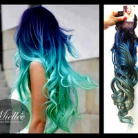 Clip In Hair Extensions / MERMAID OMBRE / Blue and Turquoise / Human Hair / Body Wave Texture / 10 Piece Clip In Set