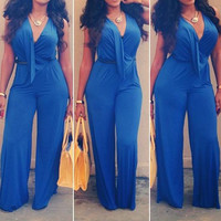 Plus Size Blue V-Neck Drape Sleeveless Jumpsuit