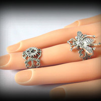 Antique silver Filigree Double Ring-steampunk Knuckle Ring-Adjustable Ring-bee ring-gothic ring-Armor ring-gothic ring-one size-set of 2