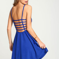 Royal Cage Back Flare Dress - LoveCulture