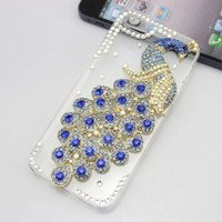 bling 3D diamond crystal clear peacock hard back Case cover for Iphone 5C (dark blue)