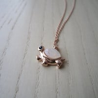 Rose gold necklace, gold plated necklace, a small turtle pellets, small tortoise shells, delicate, elegant, best gift,
