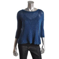 INC Womens Tapestry Sequined 3/4 Sleeves Pullover Sweater