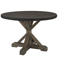 """Stitch Industrial Modern Round Wood Top Dining Table in Brown 47"""""""