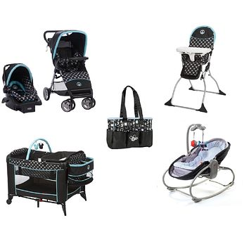 Disney Mickey Shadow 5pc Baby Gear Bundle,Travel System,Play Yard,Bouncer & Diaper Bag